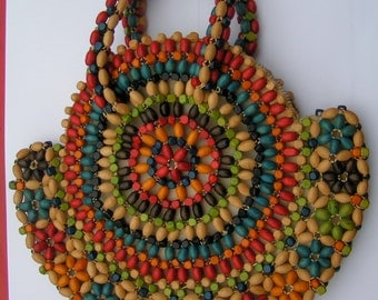 Vintage Wood Beaded Purse - made in  Chechoslovakia -  Deep Bright Colore