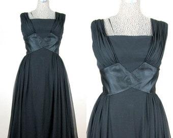 25% Off Summer Sale.... Vintage 1950s Black Silk Chiffon Dress 50s Glamorous Marilyn Style Cocktail Dress Full Skirt Size 8M 28W