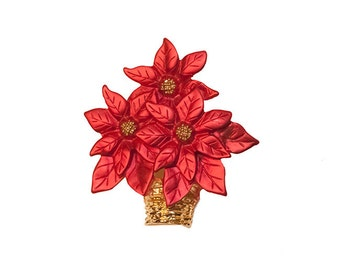 Poinsettia Brooch, Red & Gold Enamel on Metal, Christmas Pin