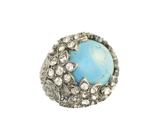 Faux Turquoise & Rhinestone Ring, Victorian Revival, Silver Metal, Floral Setting, Adjustable, Vintage 1980s