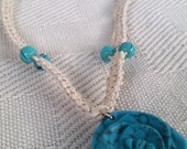 Hemp Necklace with Turquoise, Teal and White Rose handmade necklace, womens hippie necklace