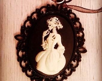 Victorian Gothic Lolita Style Elegant Zombie Lady Cameo Necklace