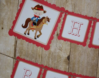 Cowboy Banner, Cowboys Birthday Party Banner, Happy Birthday Banner, READY TO SHIP, Cowboys First Birthday Party Decorations Banners