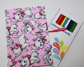 Pencil Roll & BONUS 12 Colored Pencils, Aristocats fabric holds Colored Pencils, Markers, Sharpies, Twistables, Pencil Case Organizer