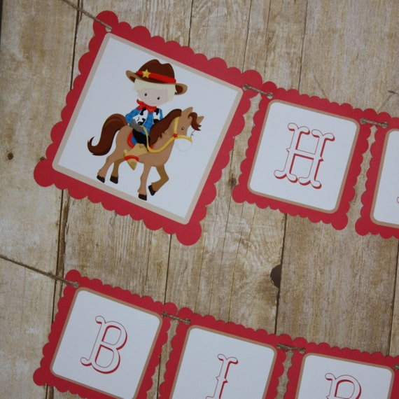 Cowboy Banner, Cowboys Birthday Party Banner, Happy
