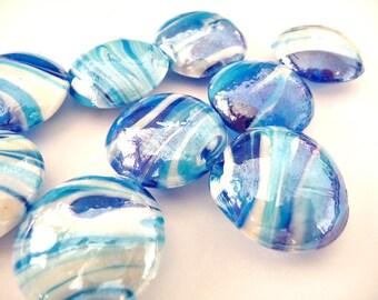 Lampwork beads, handmade beads, blue beads, Big Glass Beads, Unique glass beads, Big beads, Big coin beads, glass coin beads, blue coin bead