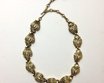 1990s Abstract Gold Chain Choker Necklace