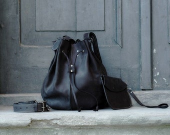 BLACK leather woman bag baggy shape Maja 2 Ladybuq art design