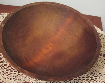 Early Lathe Turned Wooden Bowl. Primitive.