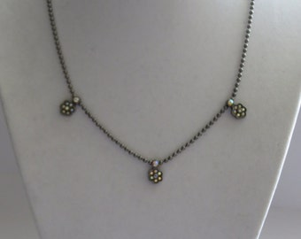 Vintage Black Nickel Beads Chain with Pendant