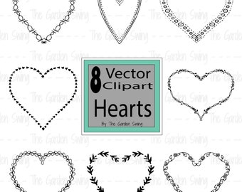 Digital Clipart Hearts, Vector Hearts, Vector Clipart, Clipart Hearts, Transparent Background, Scrapbooking, Wedding, Valentine's Day