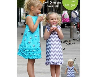 Party n Play Pattern / A-Line Dress Pattern / Ruffled Bottom Pattern / Matching Doll Dress / Olive Ann Designs OAD78