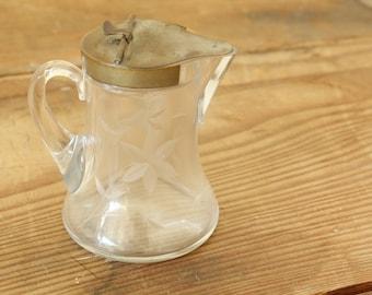 Vintage Antique Etched Glass Pitcher Spring Loaded Metal Lid Syrup Creamer Pitcher