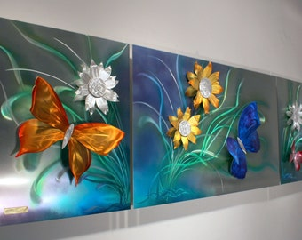 Alex Kovacs - Original Art Metal Wall Sculpture Abstract Home Decor Butterfly Painting - AK476