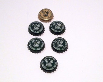 Lagunitas Beer Bottle Caps (6) Craft Supply Beer Brewing Company Cap Dog Lids Green and White Gold Bottlecap Metal Beverage Caps California