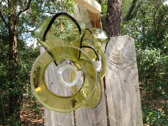 Glass MOBILE from RECYCLED bottles, eco friendly ,yellow clear, wind chime, garden decor, wind chimes, musical, home decor, mobile
