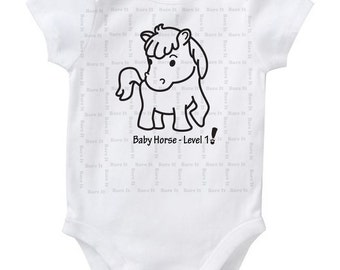 Baby Horse Level 1 Cute Baby Humor Funny Chinese New Year/Zodiac Inspired Onesie/Creeper/Bodysuit Size 3, 6, 12, 18, 24 Months Color White
