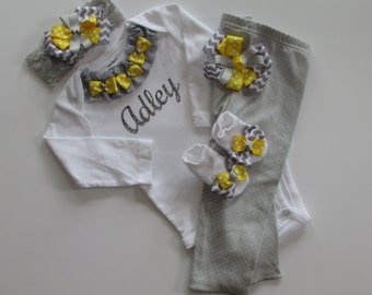 Newborn baby girl take me home outfit grey yellow chevron print complete outfit with bows and pearls