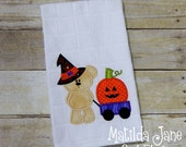 Halloween Witch Bear with Wagon and Pumpkin Applique Kitchen Towel, Happy Fall Kitchen Towel, Fall Decor, Gift Giving Home and Kitchen Decor