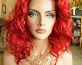 """SPRING SALE - Lace Front Natural Wavy Wig - Fire Red Full Color - Lace Front & Capless Wig - """"Lolita"""" - Natural Beauty"""
