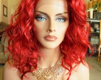 "SPRING SALE - Lace Front Natural Wavy Wig - Fire Red Full Color - Lace Front & Capless Wig - ""Lolita"" - Natural Beauty"