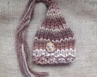 newborn photo prop hat hand knit elf hat