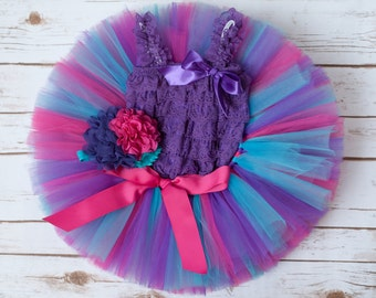 "First birthday girl ""Cort"" first birthday girl outfit turquoise pink purple birthday outfit first birthday tutu set birthday outfit girl"