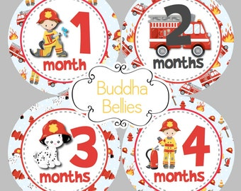 Fireman Baby Boy Month Stickers - Firefighter Baby - Heroes Nursery - Fireman Nursery - First Responders Monthly Baby Decals Belly Stickers