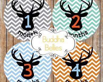 Hunter Baby Boy Monthly Stickers Deer Antler Hunter Hunting Chevron Month Stickers Month Baby Stickers Baby Stickers Deer Hunting Nursery
