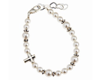 Swarovski White Pearls with Sterling Silver Cross Bead Bracelet (BCBW)
