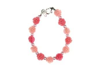 Pink & Rose Flowers with Pink Pearls Bracelet (BFPR)