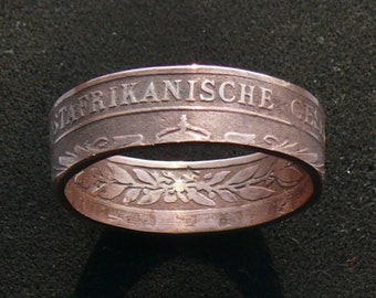 Old Copper Coin Ring 1891 German East Africa 1 Pesa, Ring Size 9 1/2 and Double Sided