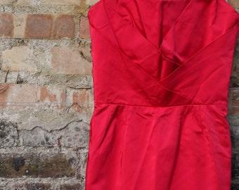 1950s red satin wiggle dress