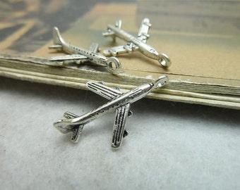 50pcs 15*23mm antique silver plane charms pendant C6729