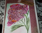 Many Thanks-  Pink Floral Watercolor Card - Thank You Card - Pink Flower - Pink Vintage Style Paper - Original Card - ArtFromTheCabin