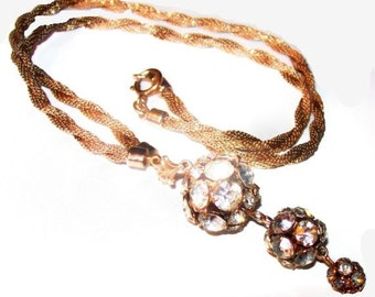 "Juliana Pendant Chain Necklace D&E Rhinestone Rose Montees Balls Gold Mesh Metal 22"" Vintage"