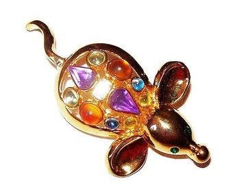 Rhinestone Mouse Brooch Pin Figural Pastel Colors Gold Metal 2 1/4 Vintage