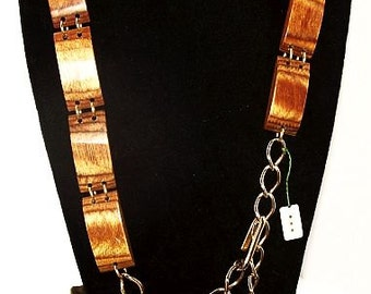 "Brown Wooden Belt Gold Metal Linked Panels & Chains Hook Clasp 37"" NOS Vintage"