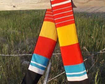 vintage preppy bold striped patricia dumont scarf - 70s