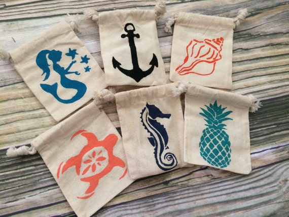 Favors Bags, Favor bags beach wedding, beach theme bags, beach theme ...