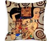 Art Pillow Covers 18 x 18  inch  Expectation Gustav Klimt Boho Throw Pillows 18x18 Cushion Cover Art Nouveau  gold blue red green zipper