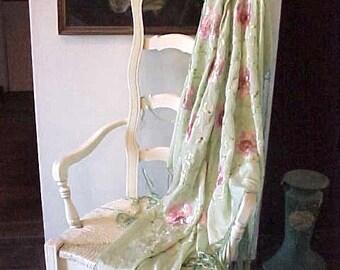 "Beautiful Art Deco Era Piano Shawl-Mint Green,Embroidered Pink Roses-16"" Fringe"