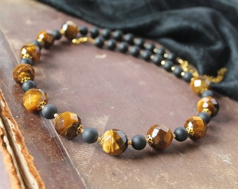 Tigers Eye Necklace Brown Black Necklace Gemstone Necklace Natural stones Jewelry Fall fashion Ethnic Tribal Jewelry Gift idea for her