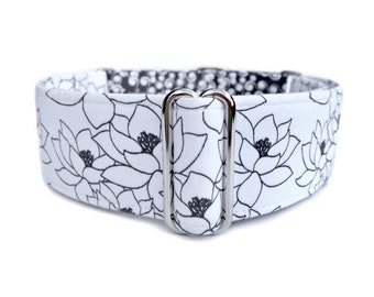 "Winter Lotus Dog Collar - 1"" or 1.5"" Black and White Lillypad Flower Martingale Collar or Buckle Dog Collar"