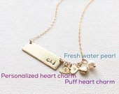 Add Extra - Add A Puff Heart Charm, Initial Charm...etc  to any Necklace, Bracelet / IN 14K Gold Filled and Sterling silver