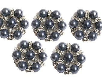 Metal Rhinestone Buttons - Pearl STAR button - 26mm - set of  FIVE - Slate Blue pearl