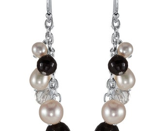 925 Sterling Silver 46.7x8 mm Crystal & Freshwater Cultured Pearl Earrings
