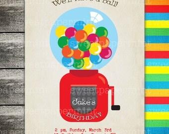 Gumball Machine Birthday Invitation Card Gum Colorful Bright - Digital Printable Cards