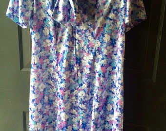 Ladies polyester vintage tie neck floral dress large extra large