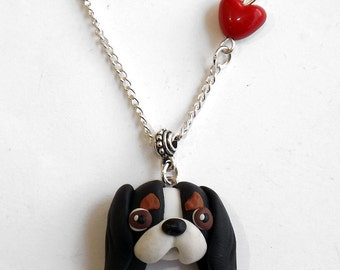 Cavalier king charles spaniel necklace polymer clay